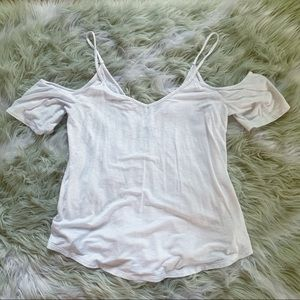 AERIE cold shoulder white top
